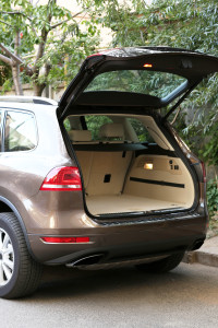 Open trunk of car, outdoors